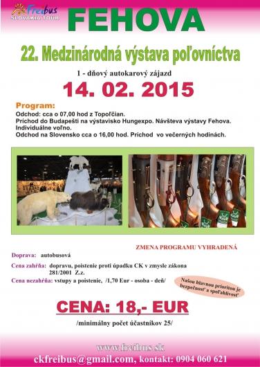 FeHoVa 2015 Medzinárodná výstava poľovníctva v Budapešti