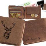 Kožená peňaženka jeleň hlava ležatá
