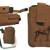 Kožené puzdro na mobil lovecký pes