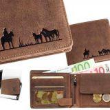 Kožená peňaženka skupina koní ležatá