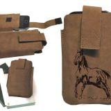 Kožené puzdro na mobil kôň 03