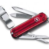 Vreckový nôž Victorinox Nail Clip 580 - 8 funkcií červený priehľadný
