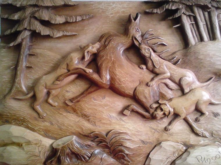 Názov: lov (drevorezba 100x70cm)