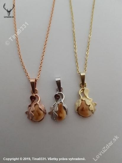 Polovnicke šperky:Set-retiazka a prívesok s laniou grandlou